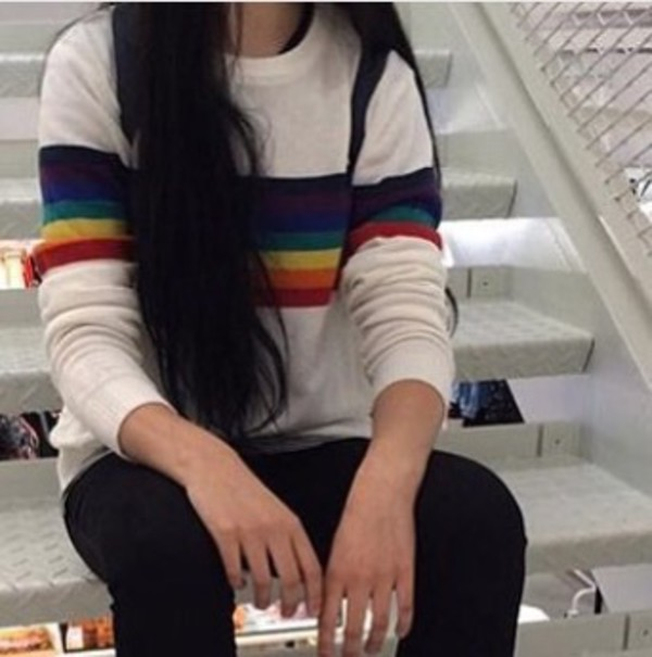 Sweater Rainbow White Cute Aesthetic Sweatshirt