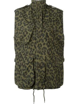 jacket women cotton print green leopard print