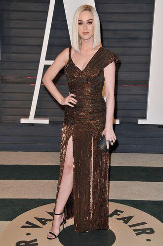 dress oscars 2017 gown slit dress katy perry sandals maxi dress asymmetrical dress glitter oscars