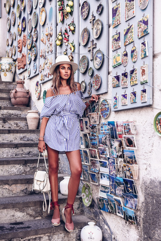 viva luxury blogger belt dress shoes jewels wedges striped dress shirt dress summer outfits white hat