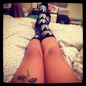 shoes,weed socks,black,white,jewels,marijuana,black bikini,pot leaf,high socks,cute,tumblr,jordans,versace,blazed