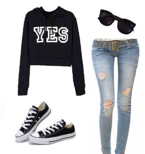 sweater yes shades jeans shoes