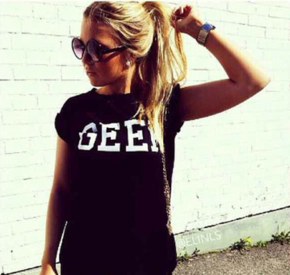 t-shirt black t-shirt geek white letters