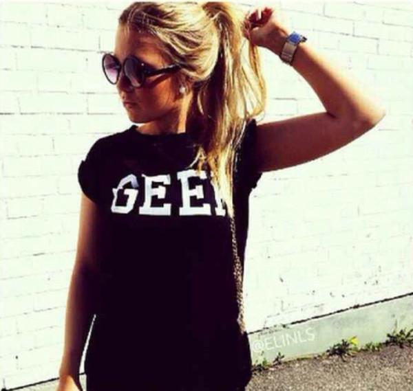 t-shirt geek black t-shirt white letters