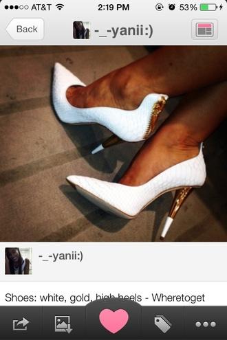 shoes white gold heels cute white high heels cute high heels high heels