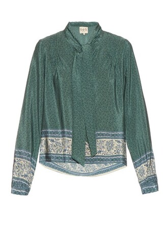 blouse print silk green top