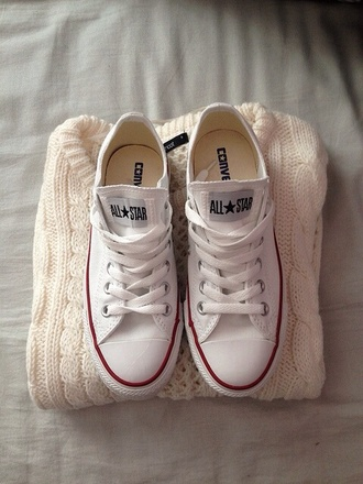sweater cream colorful knitted sweater soft converse shoes sneakers classic