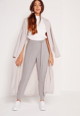 pants clothes missguided grey pants cigarette pants