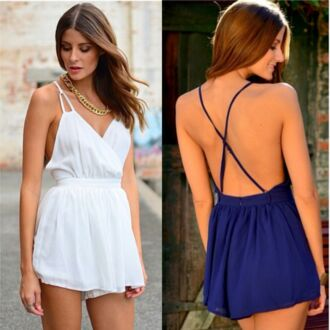 dress romper strappy criss cross back tight waist v neck pretty cross back feminine size 8