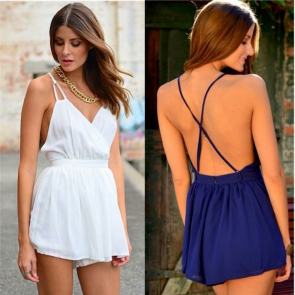 dress cross back playsuit strappy strapy criss cross back tight waist v-neck v neck pretty feminine 6 8 play suit size 8