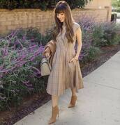 dress,midi dress,wrap dress,checkered,v neck dress,handbag,ankle boots,high heels boots,sleeveless dress,coat