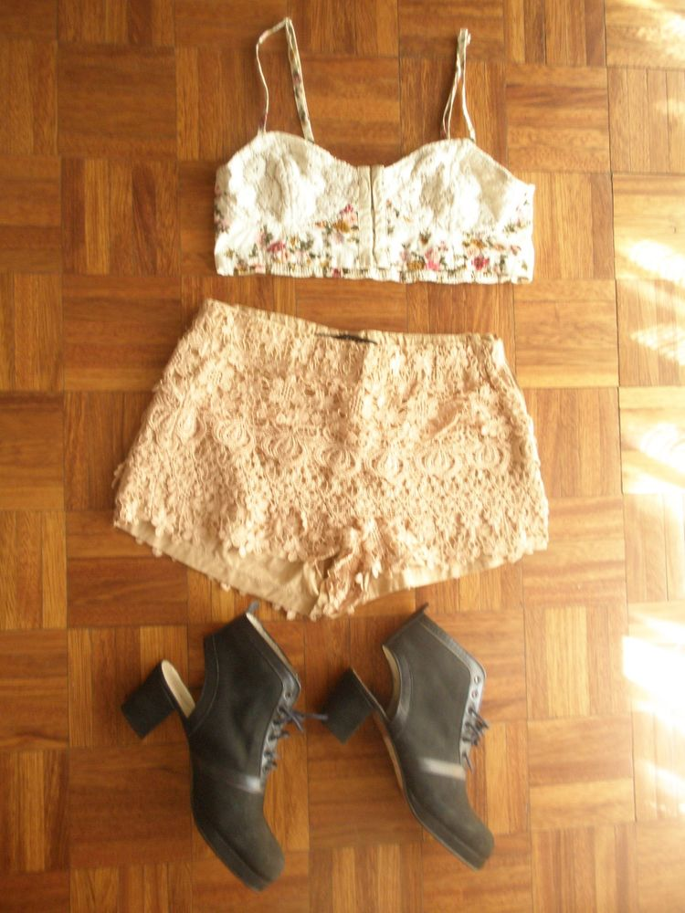 Boho Festival Look Includes Floral Lace Crop Top Zara Shorts Boots | eBay