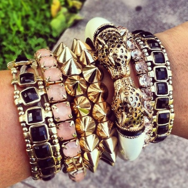 jewels bracelets studded tiger leopard print bracelets gold kiss
