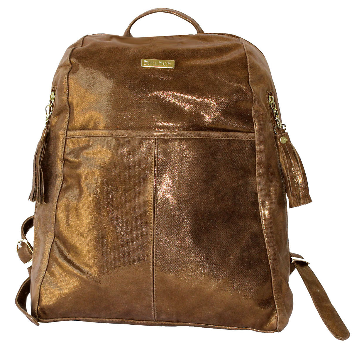 Erica Harel Metallic Leather Bag, Soft Brown Leather Backpack, Copper Metallic Bag, Soft Leather