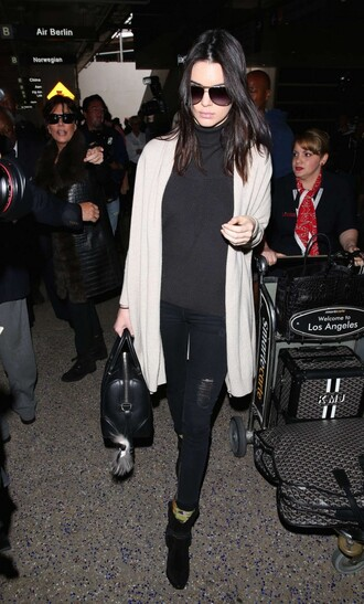 kendall jenner ankle boots cardigan