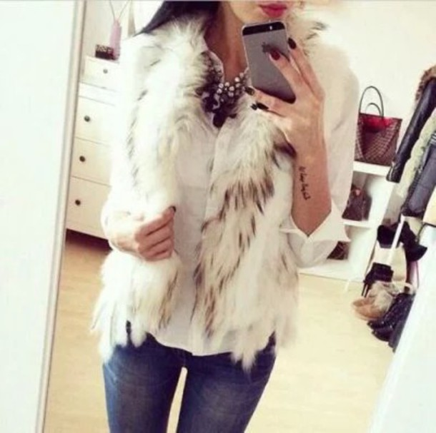 coat faux fur vest