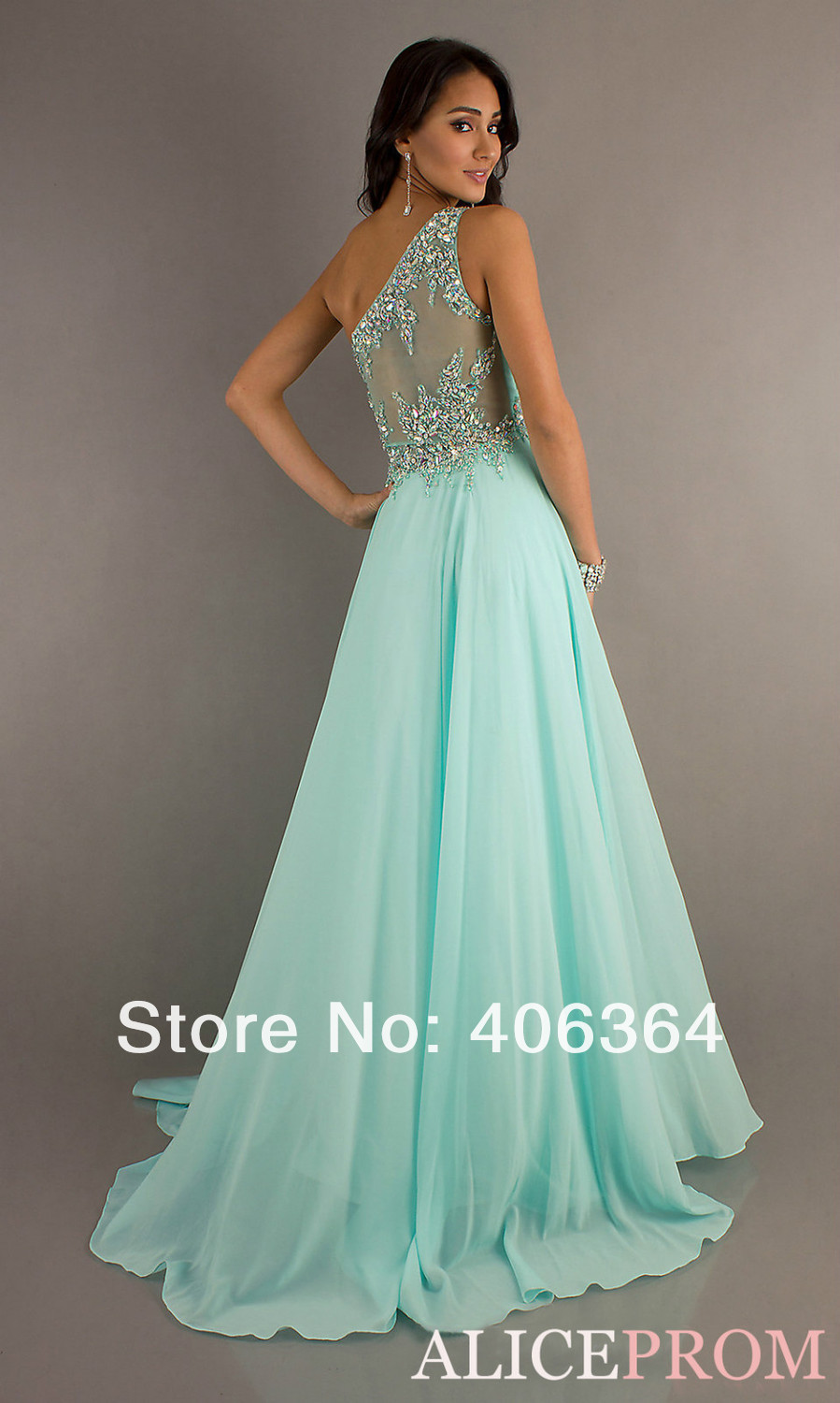 New Hot One Shoulder Sheer Back Sweetheart Crystal Mint Green Chiffon Long Pageant Prom Dresses Formal Gown New Fashion 2013 on Aliexpress.com
