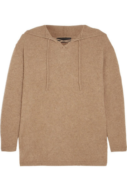 The Elder Statesman - Heavy Hockey Lace-up Hooded Cashmere Sweater - Camel