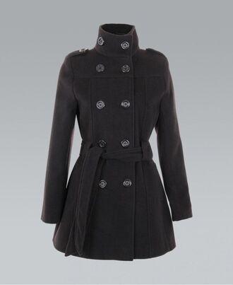 black coat ustrendy buttons belted jacket