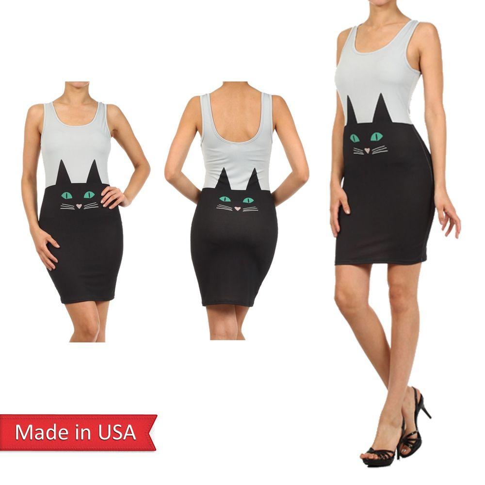 New Women Black Cat Face Animal Print Chic Lightweight Above Knee Gray Dress USA