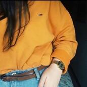 sweater,yellow tommy hilfiger  sweatshirt