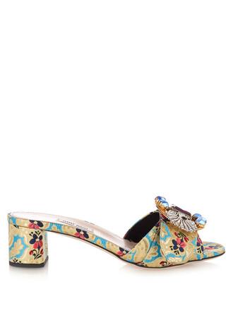 embellished mules floral blue shoes