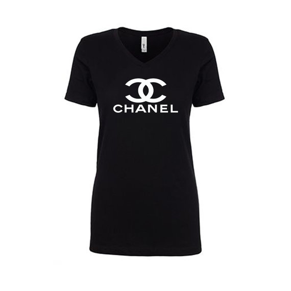 Sale free shipping chanel ladies v neck with white for Chanel logo t shirt to buy