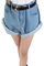 Fashion solid button fly mid regular light blue shorts