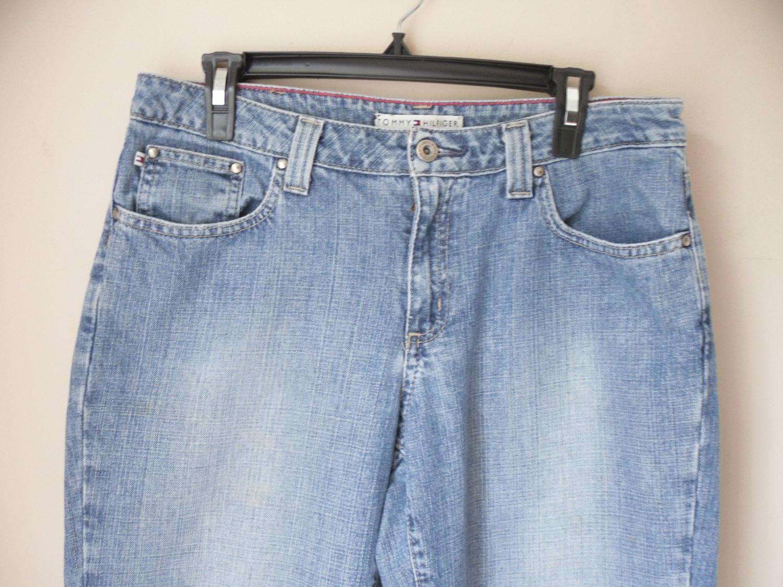 Vintage blue jean denim pants tommy hilfiger boyfriend women's size 8 r regular classic relaxed fit