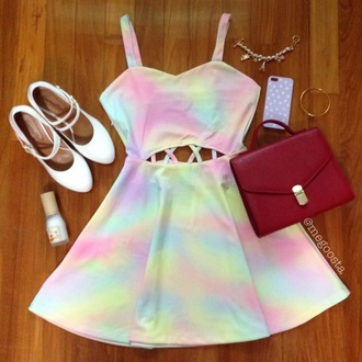 dress bag colorful pastel soft grunge low cut opened dress wood pink green blue purple