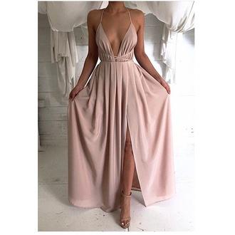 dress nude nude dress beige beige dress beautiful long dress chic light rosé fashion
