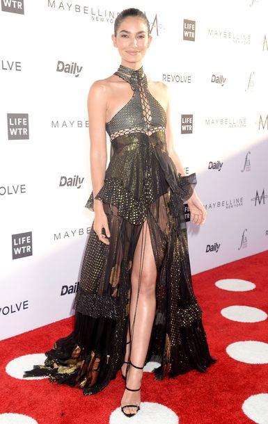 dress maxi dress lily aldridge model off-duty red carpet dress slit dress lace dress gown prom dress shoes