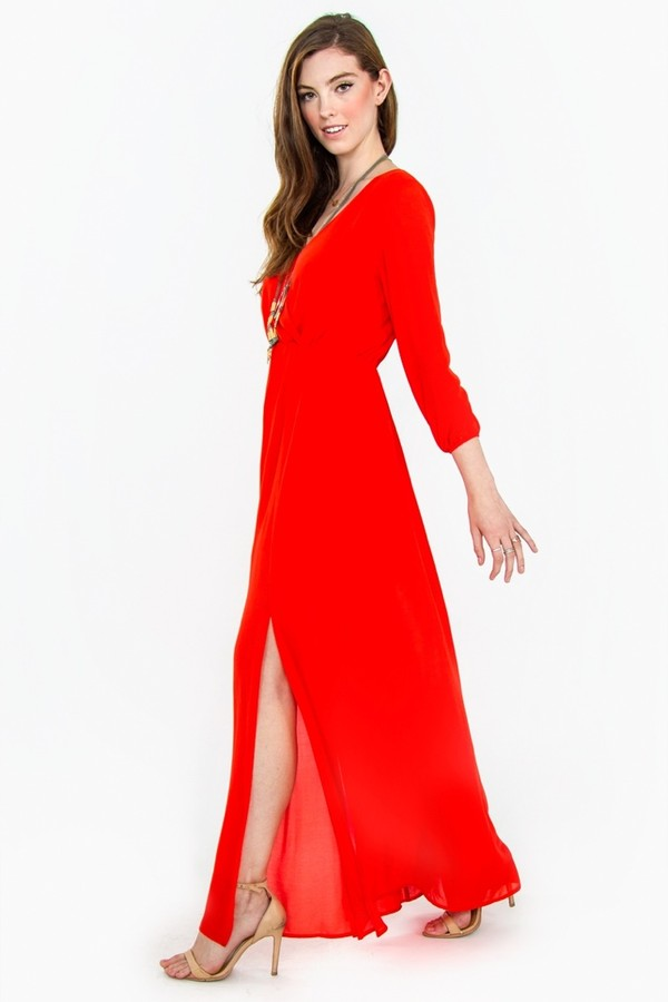 dress red dress slit dress freeing rachel boutique