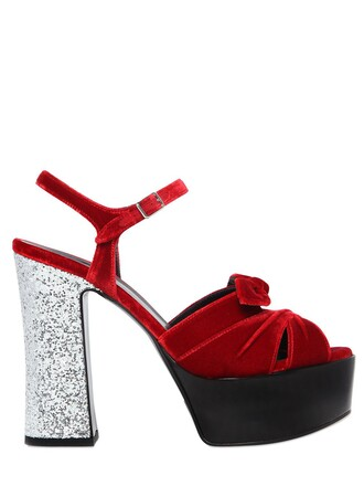 glitter candy sandals velvet red shoes