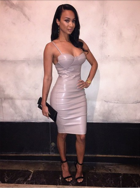 dress nude black shoes pink leather leather dress faux leather draya michele pink dress