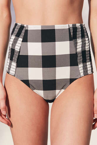swimwear gingham checkered bikini bottoms high waisted bikini