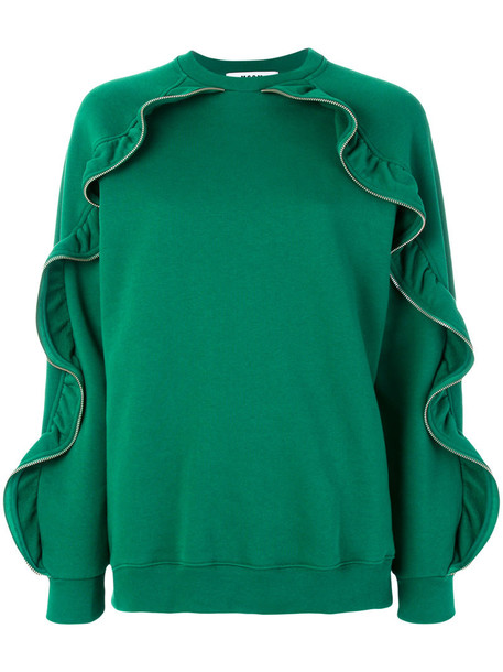 MSGM jumper ruffle women cotton green sweater