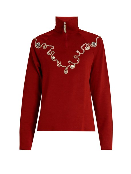 WALES BONNER top embellished wool red