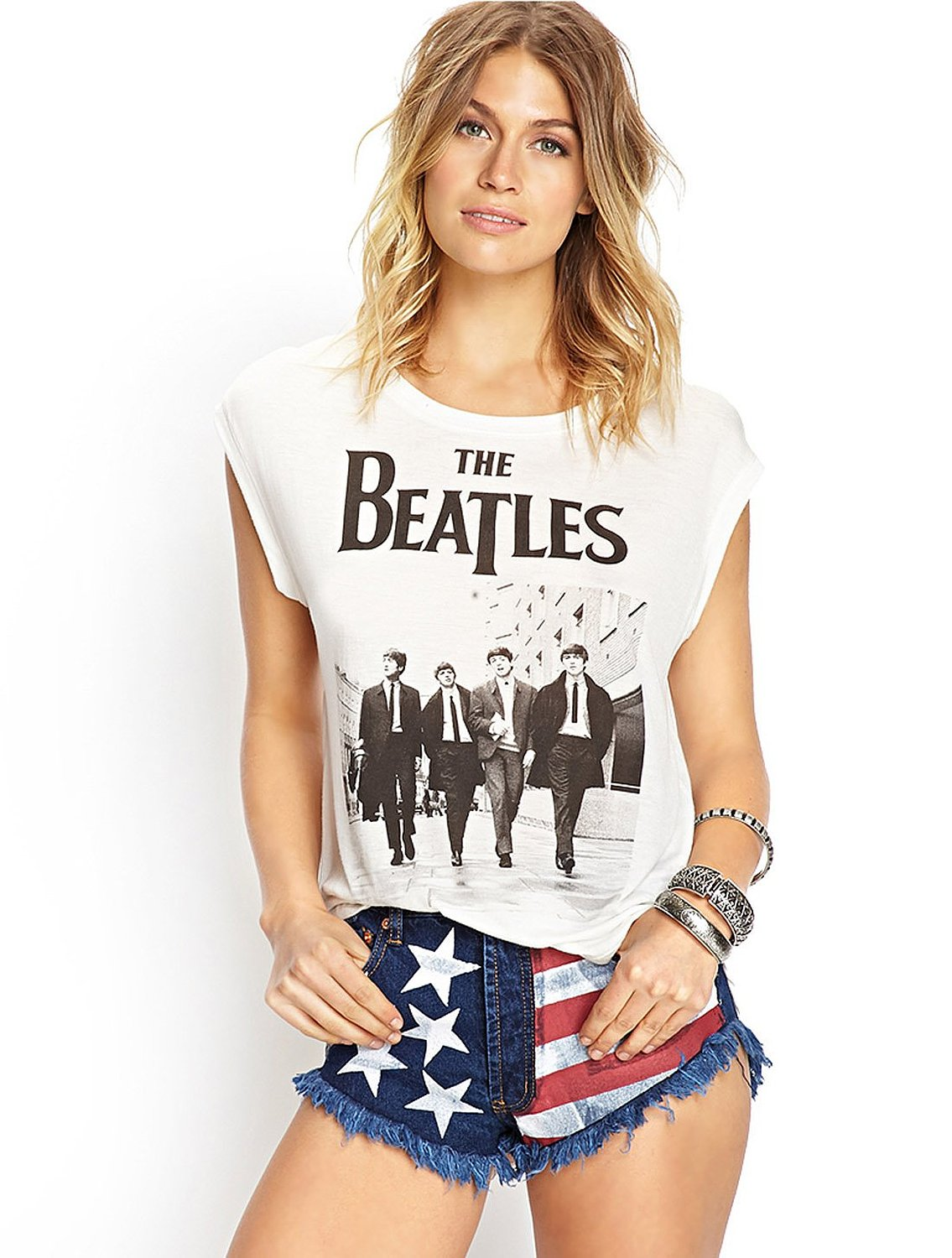 Stylishelf women's white the beatles print vest top shirt at amazon women's clothing store: