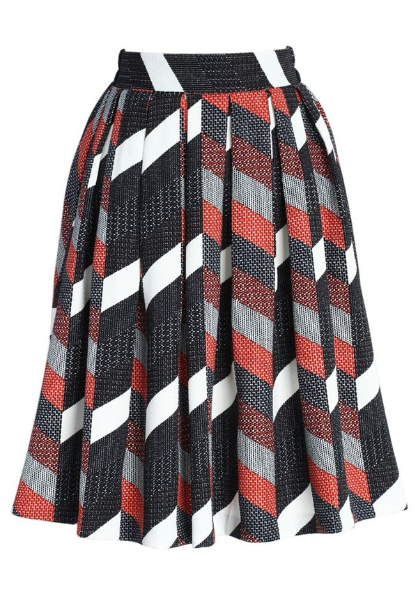 chicwish playful color block pleated skirt fashionista