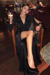 dress,wrap dress,pumps,olivia culpo,gown,silk dress,instagram,black dress,maxi dress