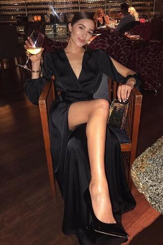 dress wrap dress pumps olivia culpo gown silk dress instagram black dress maxi dress
