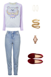 sweater,kenzo,loafers,velvet,velvet loafers,watch,michael kors watch,gold watch,necklace,hoop earrings