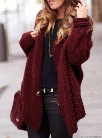 jacket red bordeaux pull pullover knitwear boho clothes knitted cardigan sweater knit chunky sweater red sweater cardigan oversized sweater