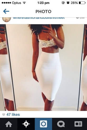 skirt white tank top bra bralette midi lace shirt crop tops white pencil skirt midi skirt all white everything bralet top corset bra