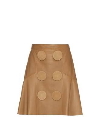 skirt peplum skirt oversized leather beige