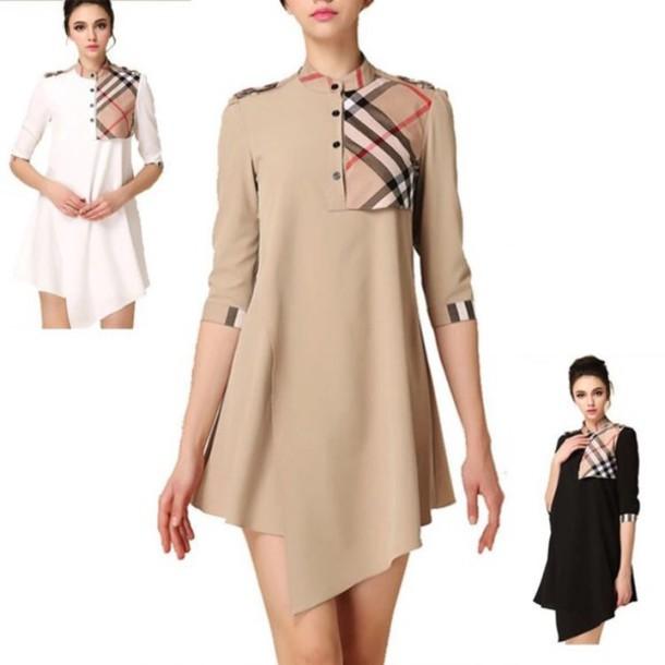 Dress Plaid Burberry Patch Khaki White Black Shirt Button Up