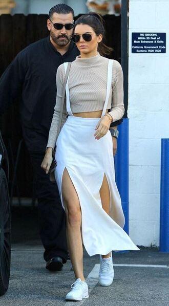skirt top crop tops slit skirt kendall jenner sneakers turtleneck double slit skirt