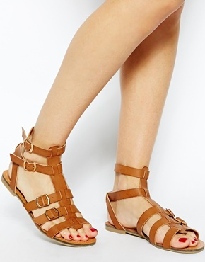New Look | New Look Wide Fit Multi Strap Hickery Gladiator Flat Sandals at ASOS