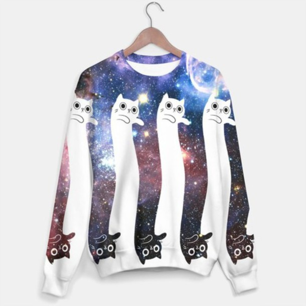 sweater cool cats galaxy print